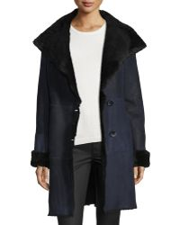 Goes - Suede Belted Coat W/ Fur Trim - Lyst