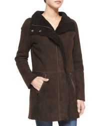 Goes Shearling Coat With Curly Fur Detail - Brown
