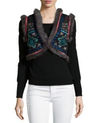 Christophe Sauvat - Chamber Embroidered Fur-trim Vest - Lyst