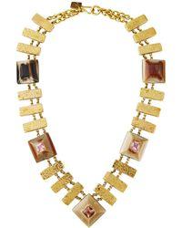 Ashley Pittman Horn & Hammered Bronze Necklace W/ Zultanite & Pink Amethyst
