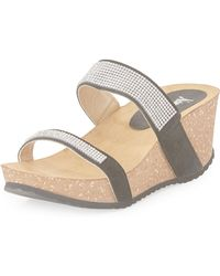 Neiman Marcus | Analise Crystal Suede Wedge Sandal | Lyst