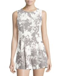 State Of Being - Floral-print Pleated Short Jumpsuit - Lyst