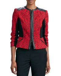 Magaschoni Textured Jacquard Leather-trim Jacket - Black