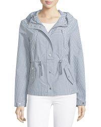 Michael Kors Check Hooded Nylon Anorak Jacket - White