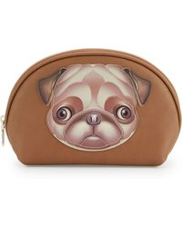 Love Moschino - Faux-leather Cosmetic Pouch Bag With Applique - Lyst