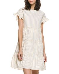 English Factory - Ruffle-sleeve Tiered Cotton Dress - Lyst
