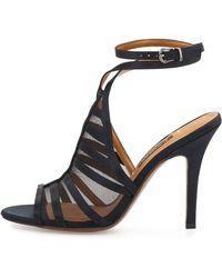 Kay Unger Aminda Strappy Mesh-inset Sandal - Black