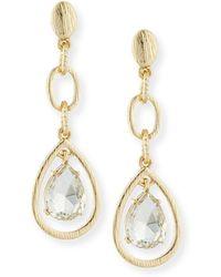 R.j. Graziano Linear Crystal Teardrop Earrings - Metallic