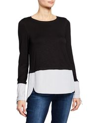 Neiman Marcus Twofer Sweater With Shirting Trim - Black