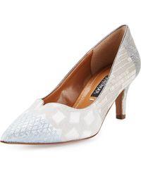 Kay Unger Kiarra Multi-fabric Low-heel Pump - Brown
