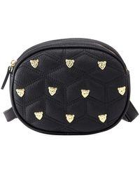 Neiman Marcus Lizzy Quilted Stud Belt Bag - Black