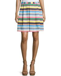 Cece by Cynthia Steffe - Pleated A-line Striped Skirt - Lyst