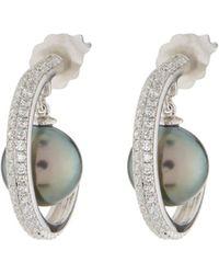 Belpearl - 14k Diamond & Tahitian Pearl Hoop Earrings - Lyst