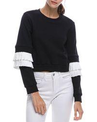 English Factory - Cropped Sweatshirt W/ Pleated-poplin Trim - Lyst