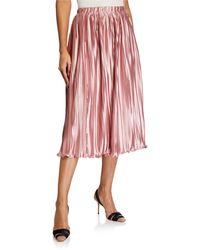 Endless Rose Pleated Satin Midi Skirt - Pink