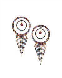 Fragments - Multicolor Rhinestone Hoop & Fringe Earrings - Lyst