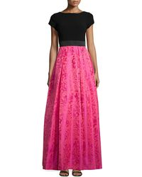 THEIA - Cap-sleeve Ball-skirt Gown - Lyst