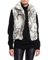 Adrienne Landau Rabbit Fur Pompom Trim Vest - Multicolour