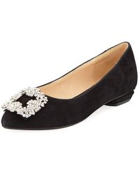Neiman Marcus - Korinne Embellished Suede Flats - Lyst
