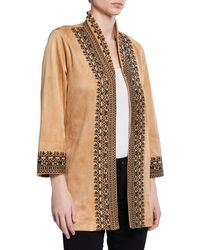 Joan Vass - Embroidered Faux-suede Open-front Jacket - Lyst