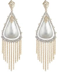 Alexis Bittar Crystal Capped Tassel Chain Earrings - Gray