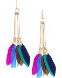 Panacea - Multicolor Feather Linear Earrings - Lyst