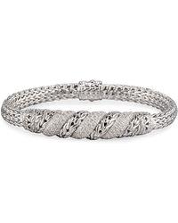 John Hardy Silver Pave Diamond Swirl Chain Bracelet sFNsV6RF4