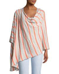 Minnie Rose - Striped Linen-blend Ruana - Lyst