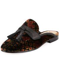 16003ad9101bc Sam Edelman - Paris Floral-embroidered Velvet Tassel Mule Loafer - Lyst