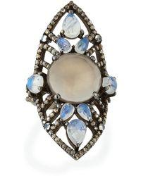 Bavna Turquoise & Kyanite Cushion Ring, Size 7
