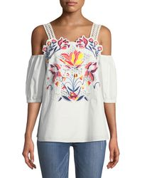 Tanya Taylor Marja Floral-embroidered Cutwork Cold-shoulder Top - White