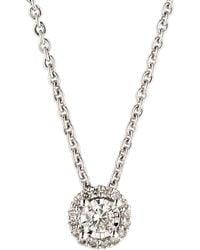 Neiman Marcus - 14k White Gold Round Diamond Solitaire Pendant Necklace - Lyst