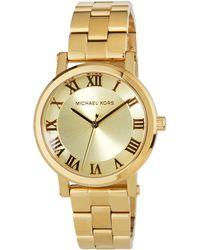 c042c48c17e5 Lyst - Michael Kors Midsize Golden Stainless Steel Wren Chronograph ...