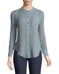 EVIDNT - Textured Button-front Blouse - Lyst