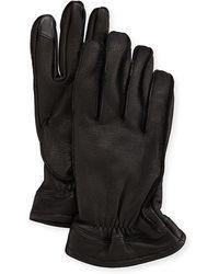 Neiman Marcus Men's Deerskin Smart Work Gloves - Black