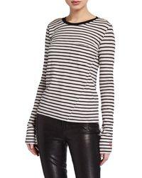 Pam & Gela Striped Long-sleeve Tee W/ Pocket - Multicolor