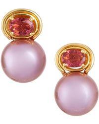 Belpearl - 18k Pink Tourmaline & Pearl Earrings - Lyst