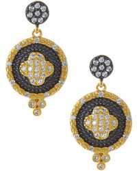 Freida Rothman - Pave Medallion Clover Double-drop Earrings - Lyst
