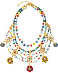 Jose & Maria Barrera Draped Bib Necklace W/ Glass Beads - Multicolour