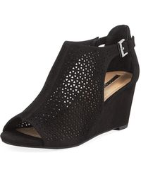 Elie Tahari - Stage Perforated Peep-toe Wedge Sandals - Lyst