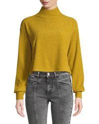 Tularosa - Blaine Button-back Turtleneck Cropped Metallic-knit Sweater - Lyst
