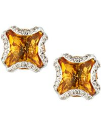 John Hardy - Batu Classic Chain Silver Square Stud Earrings With Citrine - Lyst