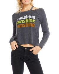 Chaser - Sunshine Long-sleeve Shoulder Cutout Tee - Lyst