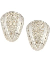 John Hardy - Silver Small Diamond Pave Shrimp Earrings - Lyst
