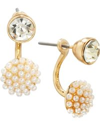 Lydell NYC - Crystal & Pearl Cluster Front-back Drop Earrings - Lyst