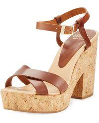 Andre Assous - Finnley Leather Cork Platform Sandal - Lyst