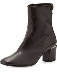 Delman Cryss Leather Ankle Boots - Black