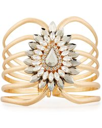 Lydell NYC - Golden Wire Cuff Bracelet W/ Large Crystal Station - Lyst