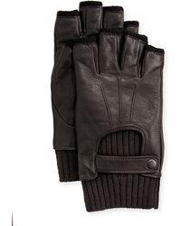 John Varvatos Wool-lined Leather Fingerless Gloves - Black