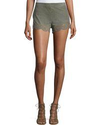 Lamarque Anjanette Laser-cut Suede Shorts - Multicolour